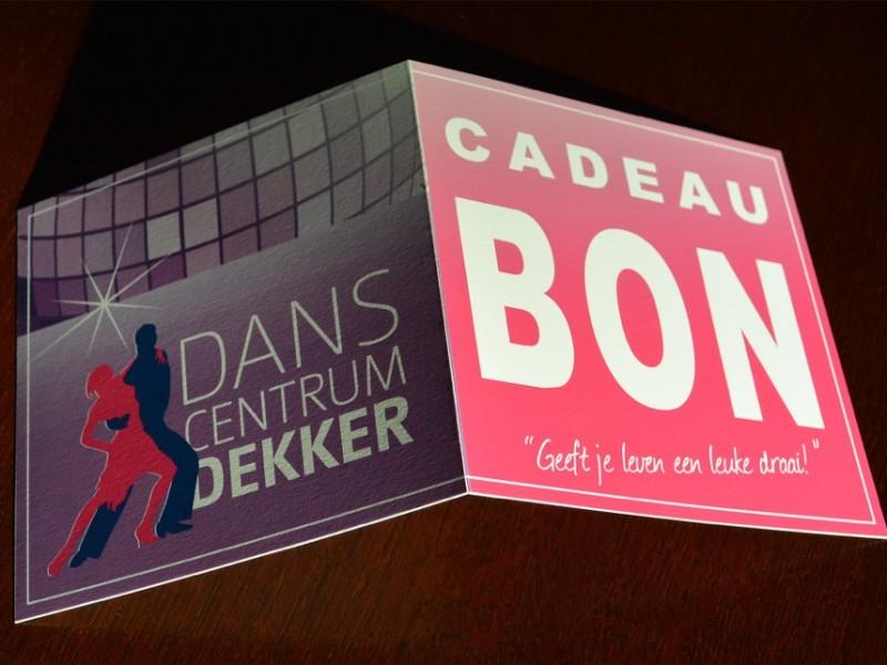Brandaris vormgeving portfolio Danscentrum Dekker cadeaubonvisitekaart huisstijl
